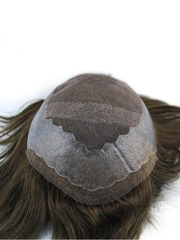 Dark Braun Männer Toupet Haarteile Haare System 100% Echthaar