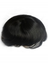 Natürliche Schwarz Männer Toupet Echthaar Haarteile