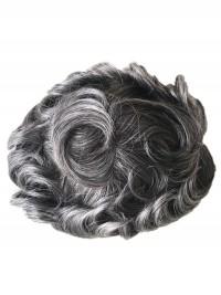 Grau Haare Männer Toupet Durable Fine Mono