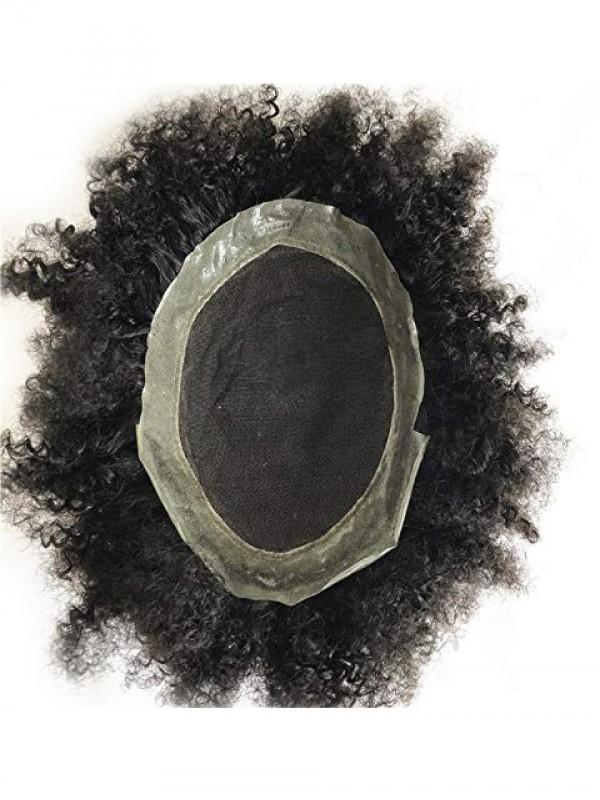 Natürliche Schwarz Lockig Lace Afro Toupet Für Männer
