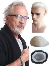 Weiß Gerade Echthaar Männer Toupee für alte Männer