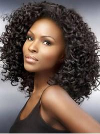 Afro-Hair Mittel Lockig Echthaar Perücken