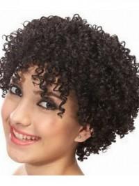Afro-Hair Kurz Lockig Echthaar Perücken