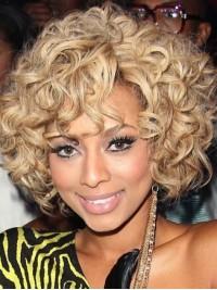 Afro-Hair Kurz Blond Wellig Echthaar Perücken