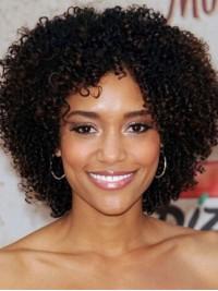 Kurz Afro-Hair Lockig Echthaar Perücken