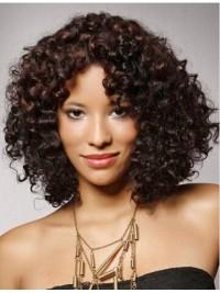 Afro-Hair Mittel Lockig Spitzefront Echthaar Perücken
