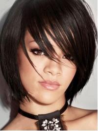 Rihanna Bob Kurz Gerade Echthaar Perücken