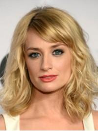 Blond Mittel Wellig Spitzefront Perücken
