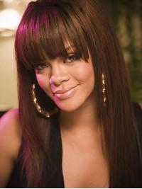 Rihanna Gerade Lang Echthaar Perücken