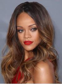 Rihanna Lang Wellig Spitzefront Echthaar Perücken