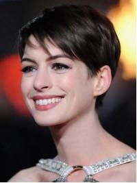 Anne Hathaway Gerade Kurz Spitzefront Echthaar Perücken