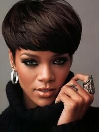 Rihanna Kurz Gerade Echthaar Perücken