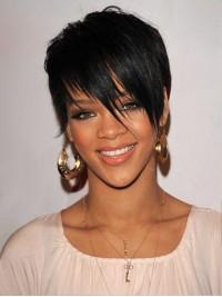 Rihanna Kurz Gerade Spitzefront Echthaar Perücken