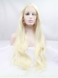 Lang Blond Spitzefront Wellig Perücken