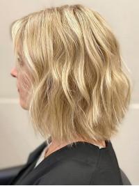 Blond Mittel Wellig Kappenlos Echthaar Perücken
