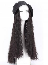Lang Lockig Kunsthaar Zubehör Der Haar Perücken Anliegend Schwarz Hüte