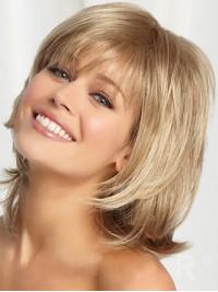 Blond Mittel Gerade Echthaar Perücken
