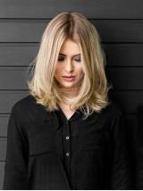 Blond Mittel Gerade Spitzefront Echthaar Perücken