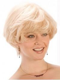 Blond Kurz Gerade Spitzefront Echthaar Perücken
