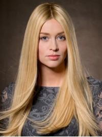 Blond Lang Gerade Spitzefront Echthaar Perücken