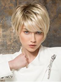 Kurz Blond Gerade Spitzefront Perücken