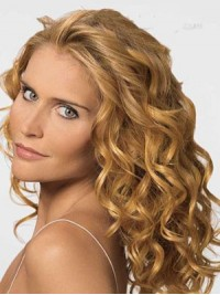Blond Lang Wellig Spitzefront Perücken