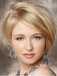 Blond Kurz Gerade Spitzefront Perücken