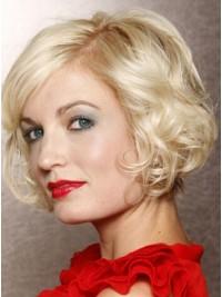 Kurz Blond Wellig Spitzefront Perücken
