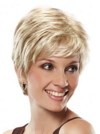 Kurz Gerade Blond Spitzefront Perücken