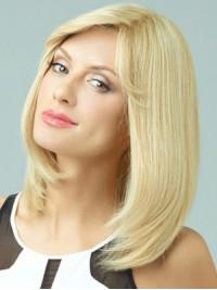 Mittel Gerade Blond Spitzefront Echthaar Perücken