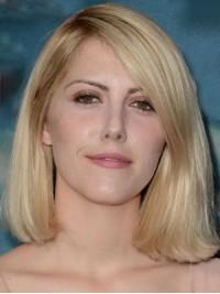 Mittel Gerade Blond Spitzefront Perücken