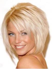 Blond Kurz Gerade Echthaar Perücken