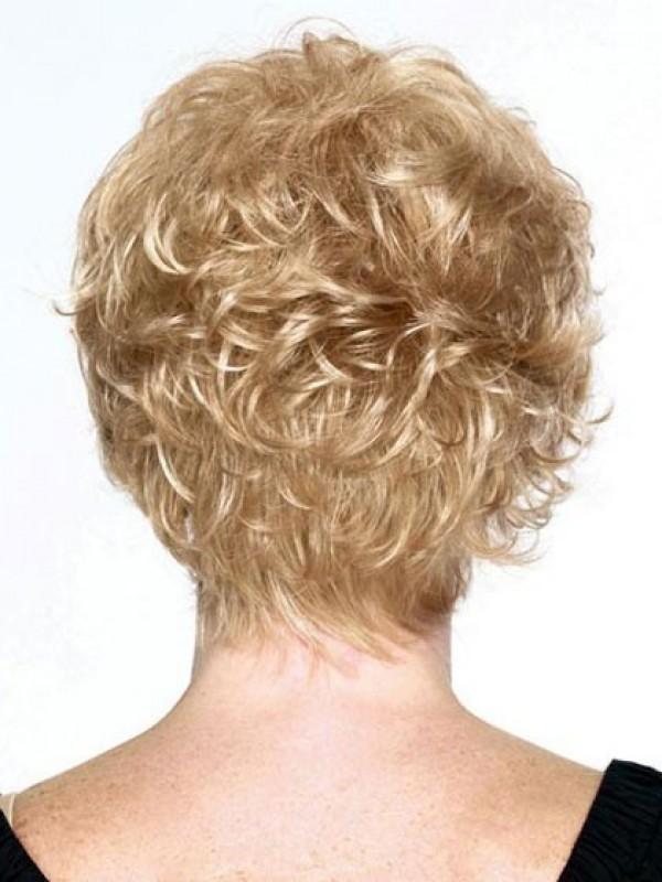 Blond Kurz Wellig Echthaar Perücken