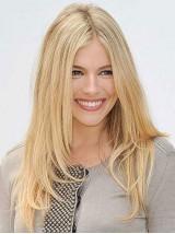Blond Lang Gerade Echthaar Perücken