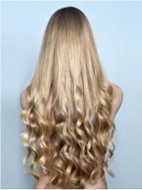 Lang Blond Wellig Perücken