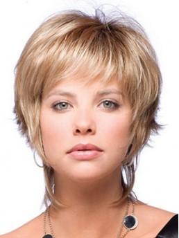 Blond Gerade Kurz Perücken
