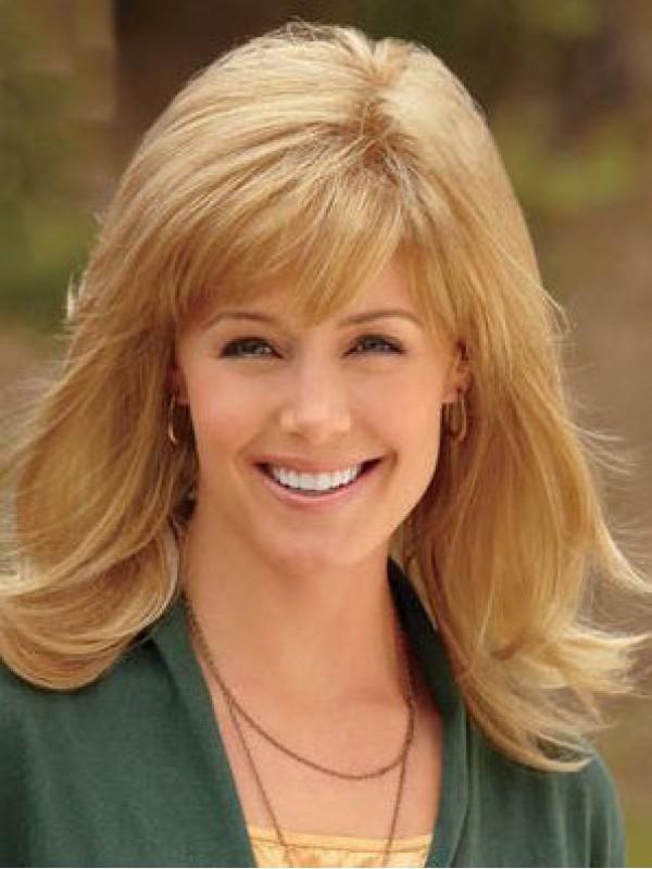 Blond Lang Gerade Perücken