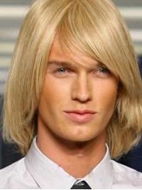 Blond Mittel Gerade Echthaar Männer Perücken