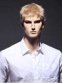 Kurz Gerade Blond Männer Perücken