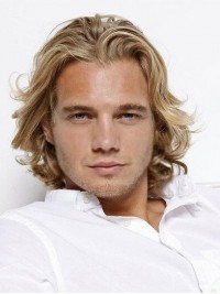 Männer Mittel Blond Wellig Spitzefront Echthaar Perücken