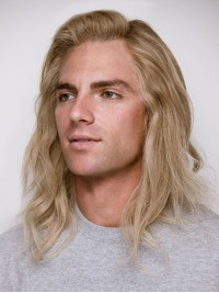 Blond Mittel Männer Wellig Spitzefront Echthaar Perücken