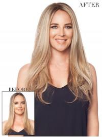 Lang Gerade Blond Echthaar Mono Haarteile