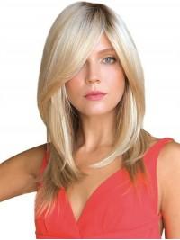Mittel Gerade Blond Echthaar Mono Haarteile