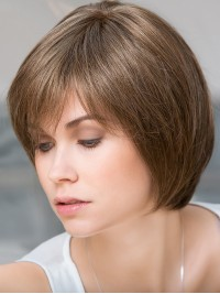 Gerade Braun Echthaar Mono Haarteile