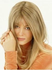 Lang Gerade Blond 100% Echthaar Mono Haarteile