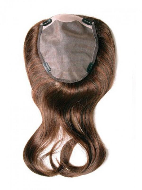 Lang Gerade Auburn 100% Echthaar Mono Haarteile