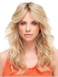 Wellig Blond 100% Echthaar Mono Haarteile