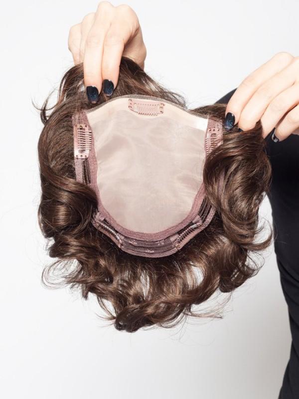 Kurz Wellig Auburn 100% Echthaar Mono Haarteile