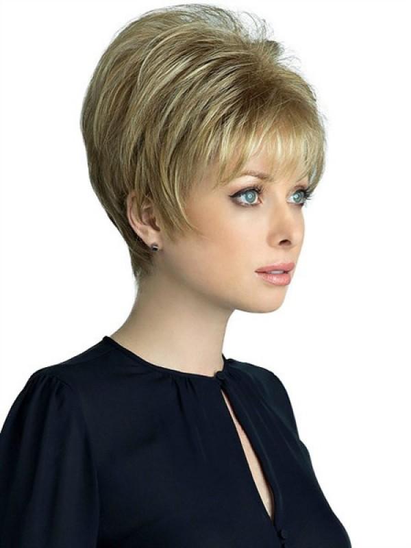 Kurz Gerade Blond Echthaar Haarteile