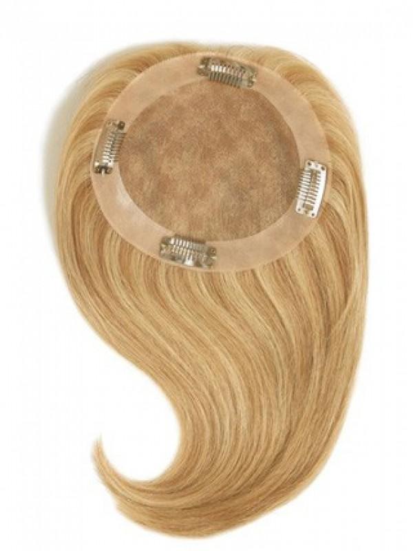 Kurz Gerade Blond Echthaar Mono Haarteile